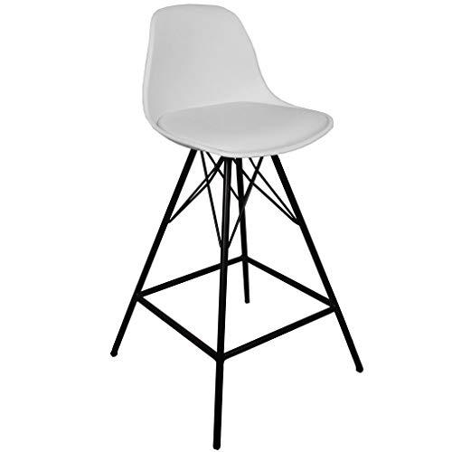 Nimara Comfort Barhocker mit lehne für der Bartisch   Tresen Hocker der zu Bar Set und Tresen passt   Bar Stuhl für die Küche in den Farben Weiß und Schwarz. Sitzhöhe 65 oder 75 cm. (Weiß, 65)