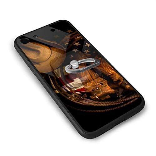 N/Een Amerikaanse vlag met Cowboy Boots Touw 4.7 Inch iPhone 7 Case, iPhone 8 Case TPU Glas Telefoonhoesje met Vierkante Mobiele Telefoonstandaard