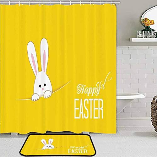 Yellow Decor Bath Mat Shower Curtain Set Easter Bunny Rabbit Animal Cartoon Springtime Cheerful Fun Celebration Artwork Print Comfy Bedroom Home Decorate Floor Kids Playing Mat Yellow White