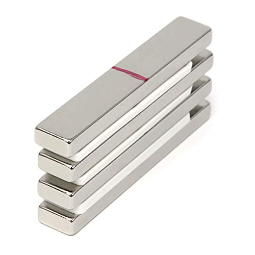 CMS Magnetics Powerful Bar Magnets Neodymium Grade N45 3' x 1/2' x 1/4' 4 Pack Super Strong Rectangular Magnets Cabinets Schools Crafts Magnets Door Magnets