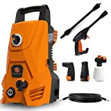SUNPOW Pressure Washer, High Portable Water Power Washer 1500 Watt ,135 Bar(Max) , Flow 300 L / H Jet Wash with 2 Nozzles, Hoses, for Homes, Cars, Decks, Driveways, Patios