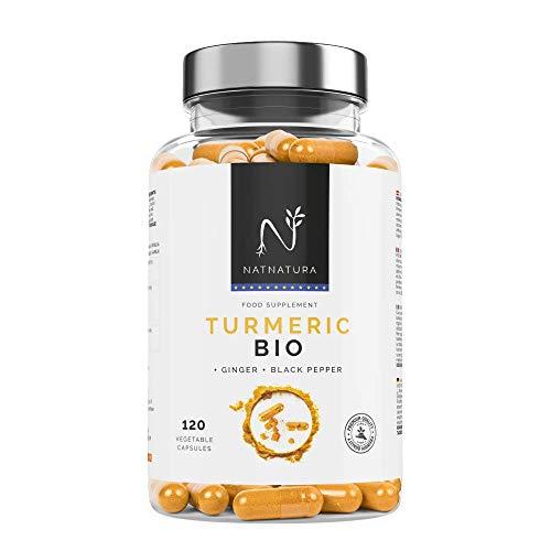 Curcuma biologica + Zenzero + Pepe nero integratore alimentare a base di curcuma biologica Bioperine. Potente antiossidante naturale. 120 capsule vegetali. Vegano e senza glutine