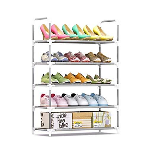 CHGDFQ Scarpiera a 5 ripiani in metallo alto per 6-15 paia, autoportante regolabile per riporre le scarpe, organizer per porta salvaspazio – L60 x 30 x 90 cm