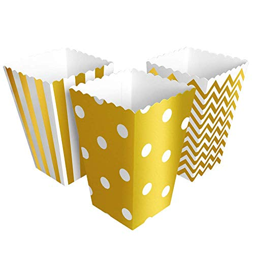 BangShou 60pcs Cajas de Palomitas Cartón Caramelo Contenedor Cine Pequeñas Cajas de Palomitas de Maíz 12 x 7.5cm (Dorado)