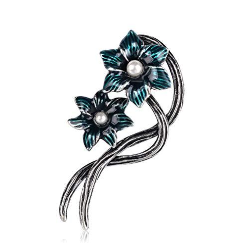 Yazilind Blumenbroschen Süße Pflanze Emaille Anstecknadeln Abzeichen Schmuck Geschenke Blau