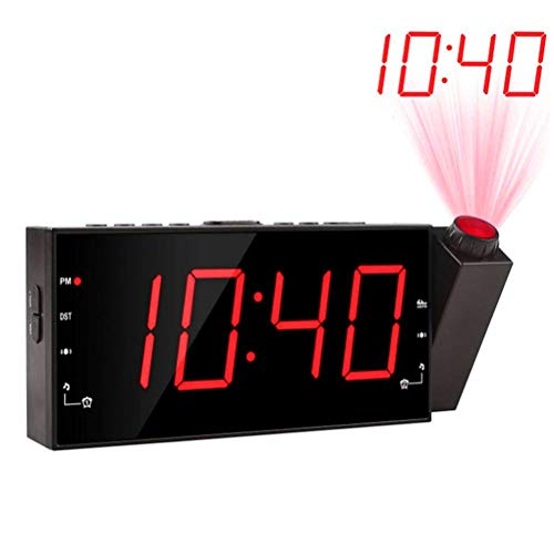 WLPTION Projection Alarm Clock Ceiling Digital Clock with Adjustable Projection with Thermometer Hygrometer Sleep Timer Snooze Function Sleep Timer and USB Port for Charging Devices