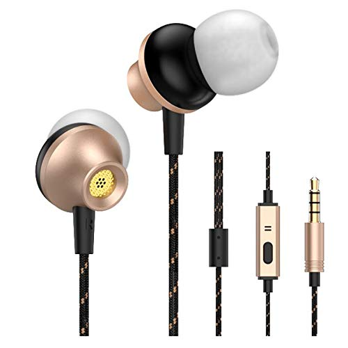 LEZII Wired Earbuds Headphones, Fullmetal Earphones, 3.6 Feet Long Fabric Cord, Nylon Cord, in-Ear, Stereo Bass, Microphone Call Controller, Next/Previous Song, Sport Running for iPhone Android Gold