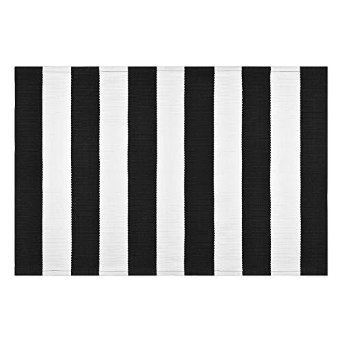 Elloevn Alfombra moderna de rayas blancas y negras, lavable, para exteriores, Shaggy terraza, para salón, cocina, habitación de los niños, 70 x 110 cm