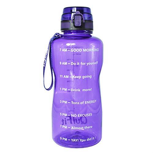 BuildLife Sport-Wasserflasche mit Zeitmarkierung & Sieb/Tracker, hilft Ihnen, täglich mehr Trinken, auslaufsicherer Deckel für Laufen, Fitnessstudio, Outdoor und Camping, violett, 1.3L