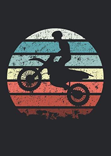 Notizbuch A4 kariert mit Softcover Design: Retro Vintage Dirtbike Motorradfahrer Motorrad Supermoto: 120 karierte DIN A4 Seiten