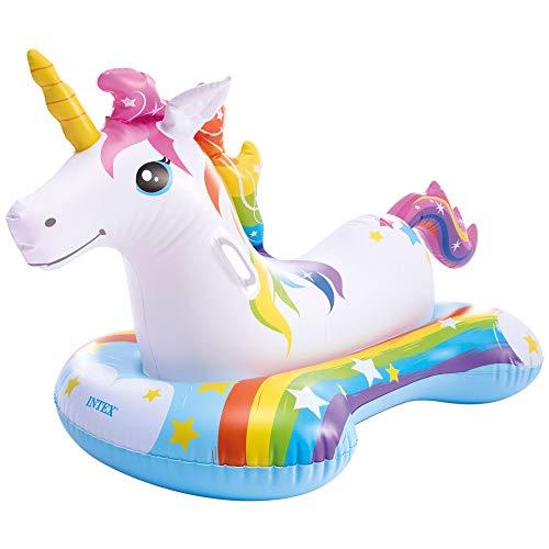 Intex 57552NP - Flotador unicornio INTEX, 163x86 cm, Colchoneta unicornio para niños, Unicornio inflable, Para 1 niños a partir de 3 años, 2 asa de sujeción, Peso máximo 40 Kg