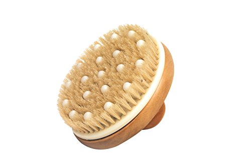 Brosse de massage ronde en bois avec poignée centrale