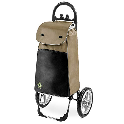 Einkaufstrolley Esana in braun mit Kühlfach - 55 Liter - Shopping Einkaufswagen Einkaufsroller Trolley bis 30 kg belastbar