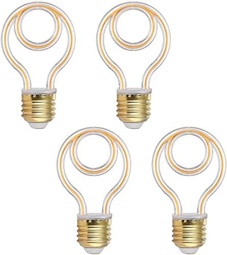 GH-YS Bombilla LED E27 Base Irregular Espiral Suave Filamento Bombilla Bombilla de Ambiente Blanco Cálido 220V para Hogar/Sala de Estar/Dormitorio Decoración Bombilla, Paquete de 4, Color