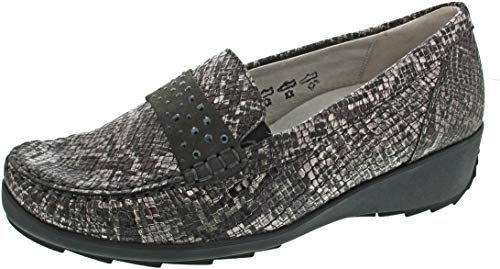 Waldläufer Hanin 348501-052 Caron (marron) – Chaussons pour femme – Ballerines confortables en cuir (nubuck) - - gris, 37 EU