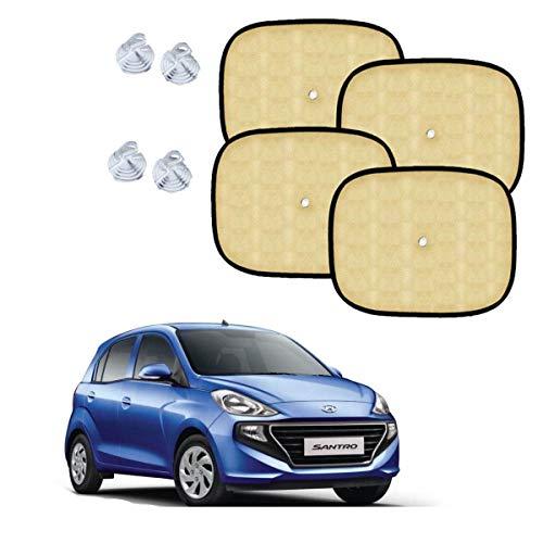 Sykit Universal Beige Cotton Fabric Car Window Sunshades with Vacuum Cupsfor Hyundai New santro (Set of 4)