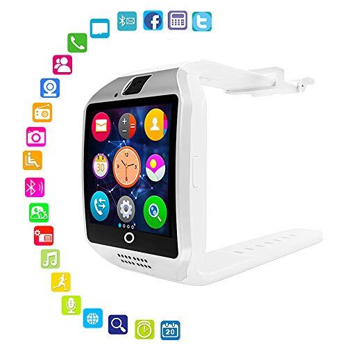 LayOPO Smart Watch mit Kamera, Q18 SmartWatch Wasserdicht Sport Smart Fitness Tracker Armbanduhr mit Sim Card Slot Kamera Schrittzähler für Android Smartphones weiß