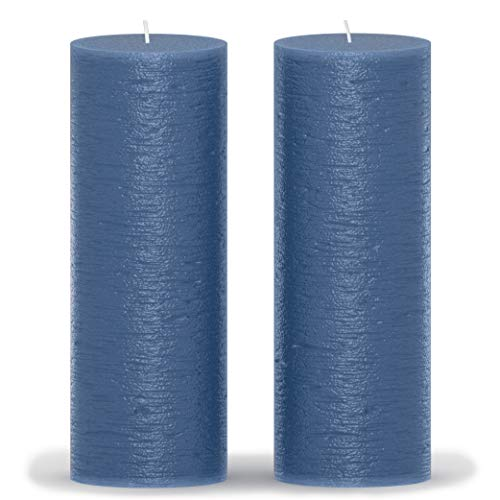 CANDWAX 3x8 Pillar Candle Set of 2 - Decorative Candles Unscented and No Drip Candles - Ideal as Wedding Candles or Large Candles for Home Interior - Dark Blue Candles