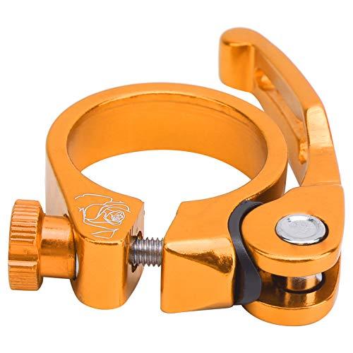 Abrazadera de tija de sillín de Bicicleta 34,9mm Aleación de Aluminio Bicicleta de liberación rápida Clip de Tubo de sillín Accesorio de Bicicleta de montaña(Oro)