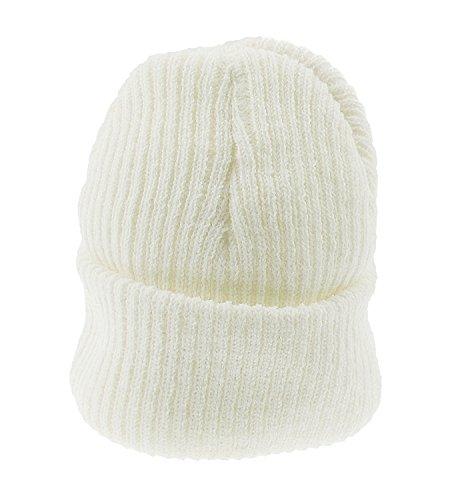 Bébé Fille Garçon chaud Hiver côtelé en tricot côtelé Bonnet - Ecru - One Size