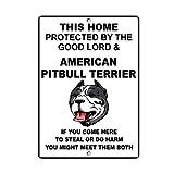 BridgetWhy50 Cartel de metal con texto en inglés 'American Pitbull Terrier Dog', señal de advertencia de peligro, señal de seguridad, 20 x 30 cm
