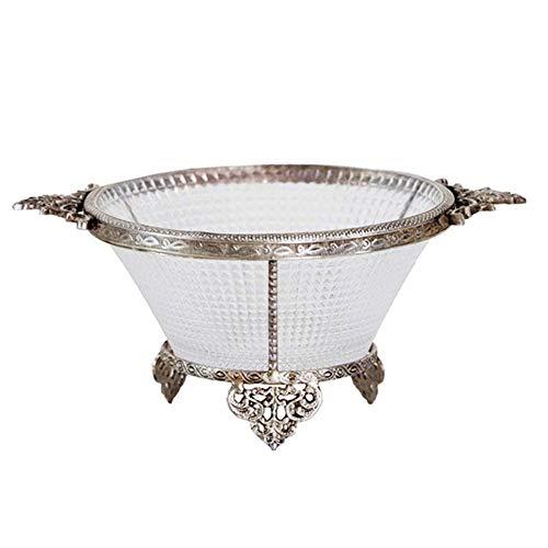 Fruitschaal, fruitschalen, zilver metaal met glas, American Country fruitschaal, Crystal Storage Plate, luxe zachte decoratie