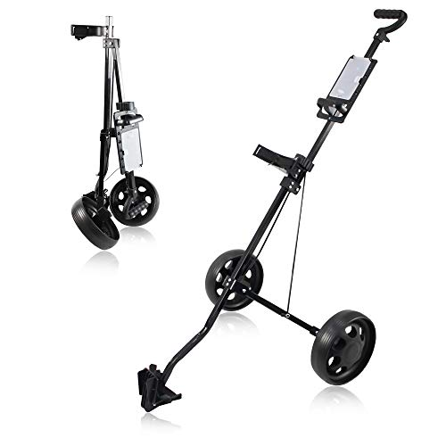 WeGuard Golf Push Cart 2 Wheel Lightweight Folding Push Pull Golf Trolley One Second to Open & Close Folding Cart,Golf Accessories for Practice and Game Best Gift for Men Women/Kids