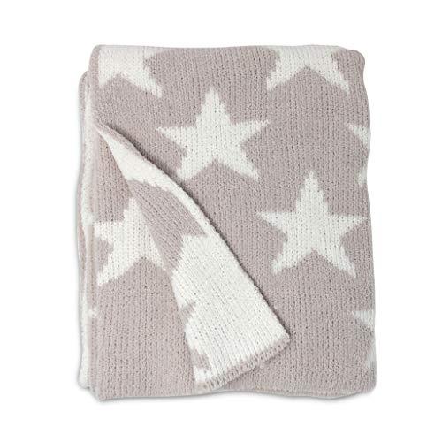 Living Textiles Grey Stars Chenille Soft Baby Blanket Premium Cozy Fabric for Best Comfort - for Infant,Toddler,Newborn,Nursery,Boy,Girl,Unisex,Throw,Crib,Stroller,Gift, Grey Stars 40x30