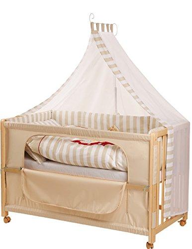roba Lit d'allaitement, lit bébé 60x120cm en bois naturel, 'Schnuffel', fixation au lit parental, avec linge de lit complet.