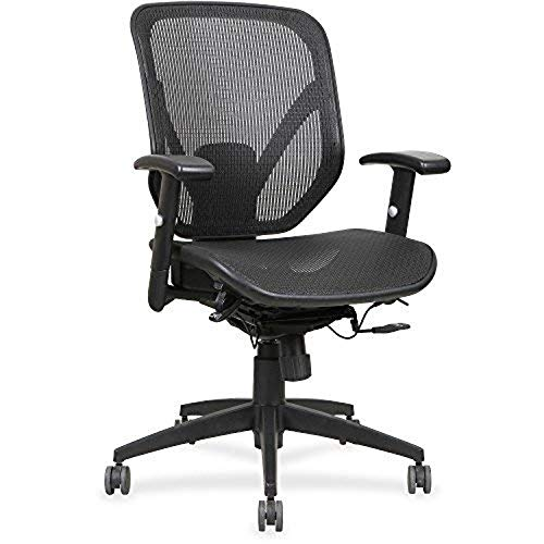 Lorell Mesh Seat/Back Mid-Back Chair, Black