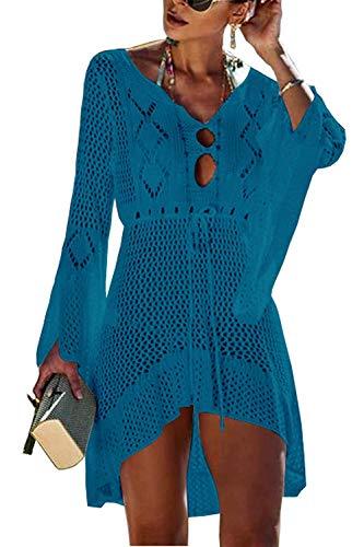 Orshoy Elegant Crochet Stricken Bikini Cover Up Boho Strandponcho Strandkleid Bikini Cover up Strandkleider Strandponcho Sommer Strand Tunika Chiffon Pareos , Einheitsgröße, Pfau Blau