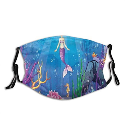 Adult Mask Magical Underwater World with Little Mermaid and Different Type of Fish Artwork Ocean Theme Fabric Cotton Face Masks Washable Cloth Masks for Men Women Cycling Camping Travel