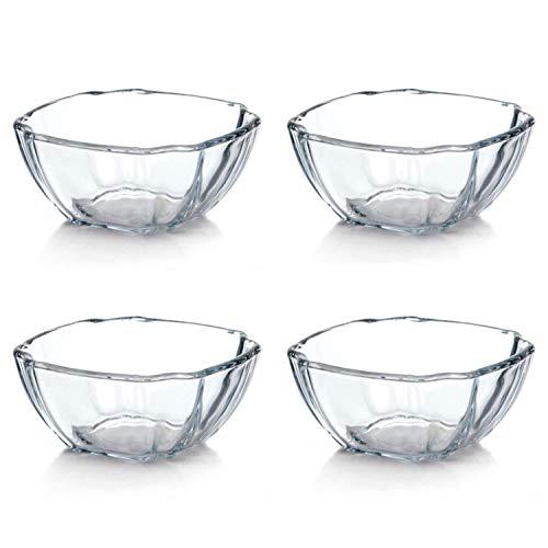 4er Set Soufflé Förmchen aus Borosilikatglas Mini Backformen Auflaufformen Eckige Glasschalen für Zubereitung von kleinen Kuchen, Gratins - Backofenfest, Spülmaschinen,- und Mikrowellengeeignet