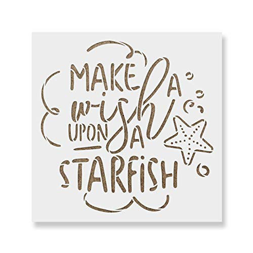 Make A Wish Starfish Stencil - Reusable Stencils for Painting - Create DIY Make A Wish Starfish Home Decor