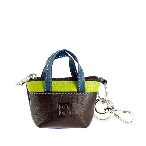 DUDU Porte-clés à Petit Sac Porte-Monnaie en Cuir coloré avec Fermeture Zip 2 Anneaux et Mousqueton Woods