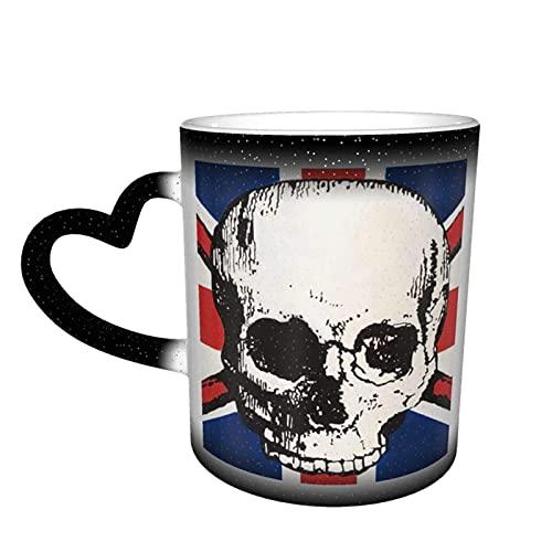 maichengxuan Taza de café unisex de viaje con diseño de calavera pirata personalizada, sensible al calor, taza de té de leche y tazas de café mágicas