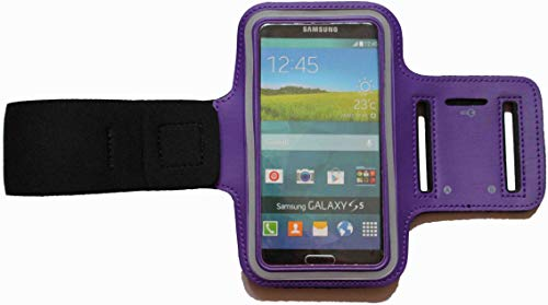 Sport-Armband Wasserfest Fitness-Tasche für LG G8s ThinQ / G8 ThinQ / G7 ThinQ / G7 One / G7 Fit Fitness Lauf-hülle Arm-Tasche mit Kopfhöreranschluss Blank Groß Lila