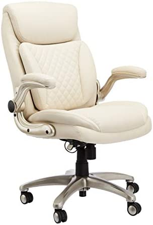 AmazonCommercial Ergonomic High Back Rhombus Stitched Leather Executive Chair with Flip up Armrests product image