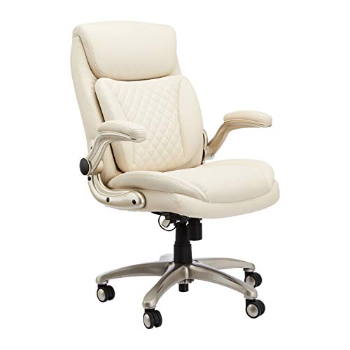 AmazonCommercial Ergonomic High-Back Rhombus-Stitched Leather Executive Chair, with Flip-up Armrests and Motive Lumbar Support, Cream/Ivory