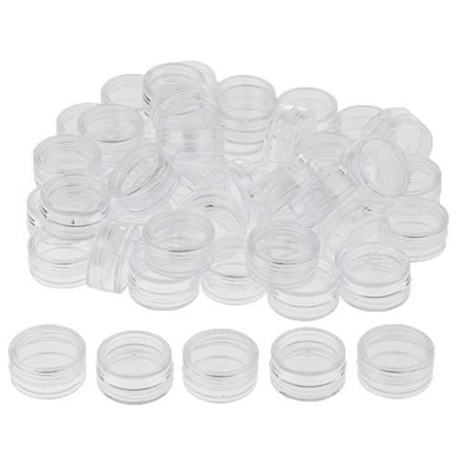 IPOTCH 50x Flacon Vide Fiole Liquide Échantillon Contenant de Produits Liquide avec Couvercle - Blanc, 2g