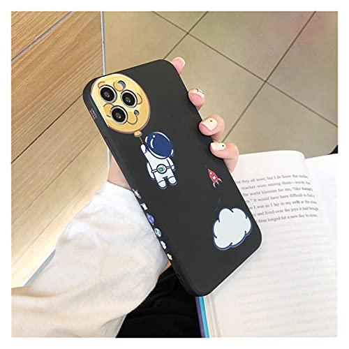 Cassa del Telefono del Telaio del Telaio dell'astronauta del Silicone Liquido per iPhone 12 PRO Max 11 PRO Max 12mini 7 8 Plus X XS. Max. XR SE 2020. Coperchio (Bundle : Case, Color : A)