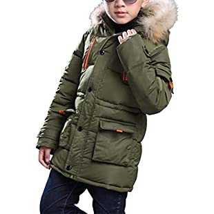 BabyFat Hooded Padded Coat Jacket Autumn Winter Fashion Outerwear Warm Clothes Coat for Children Boys Green Label 140 (Height 130-140cm):Kostenlosefilme