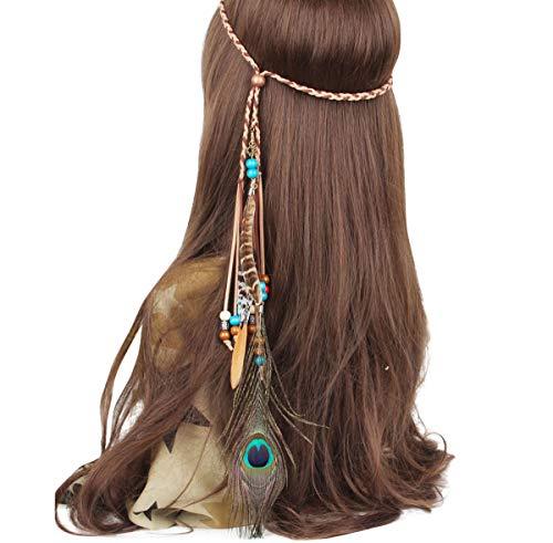 Xinyanmy Frauen Indisch Haarbänder Damen Hippie Boho Feder Quasten Seil Weben Stirnband Gürtel Indianer Stirnband für Abendkleider Halloween Karneval