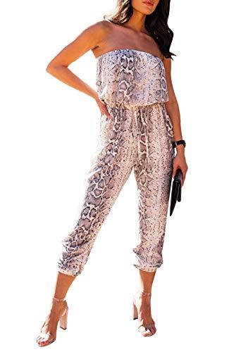 Fixmatti Women's Romper Animal Printed Off Shoulder Tube Top Waisted Capri Jumpsuit Outfits Chestnut L