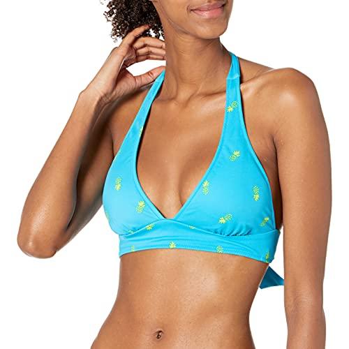 Amazon Essentials Women's Tie Halter Bikini Swimsuit Top, Blue Pineapple, XS