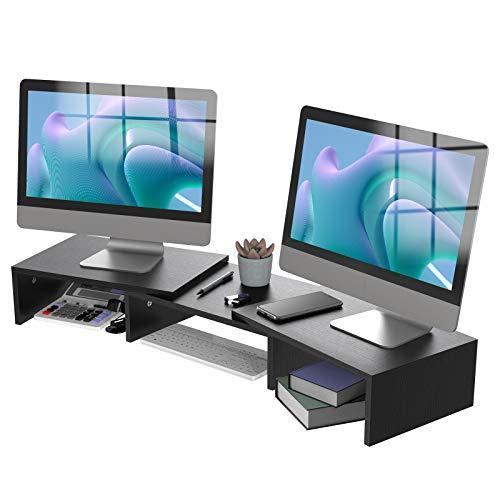 ATUMTEK Dual Monitor Stand Riser, Desktop Storage Organizer Wood Shelf, Adjustable Length Angle for...