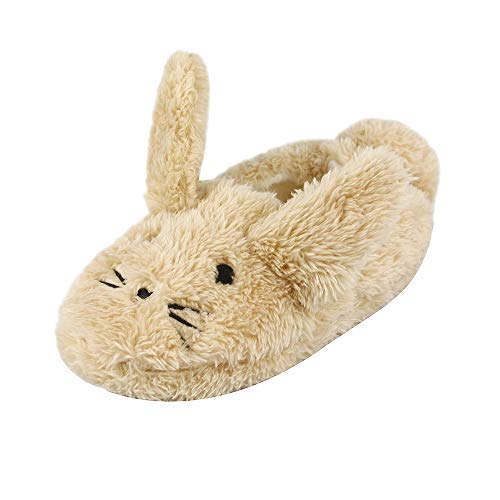 Boys Girls Plush Warm Cute Bunny House Slippers Fuzzy Indoor Bedroom Shoes for Toddler Kids Khaki 9-10 M