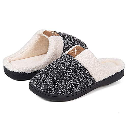 IceUnicorn Winter Hausschuhe Herren Damen Memory Foam Plüsch Wärme Home rutschfeste Slippers wollähnliche für Drinnen und Draußen(W/B, 38/39EU)