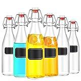 Praknu 6 Glasflaschen mit Bügelverschluss 500ml - 6 Extra Dichtungen und 12 Etiketten mit Stift - 6