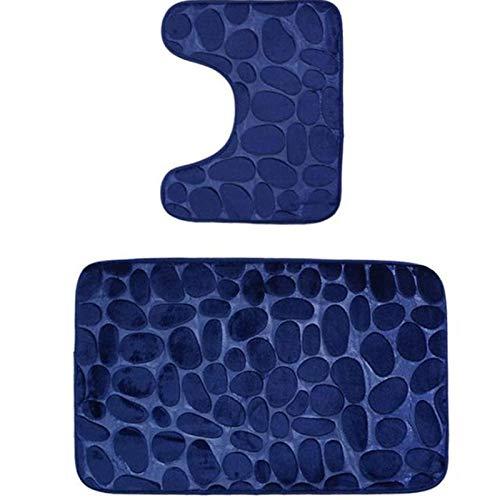 SAMZO Eleoption - Juego de alfombrillas de baño antideslizantes para pedestal (transpirable, espuma viscoelástica, 2 unidades), color azul